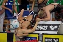 6.7.2016, Hódmezővásárhely: die Däninnen gewinnen die 4x100 F Staffel.