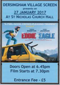 poster for eddie the eagle screening in january 2017