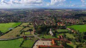 aerial photograph of dersingham village