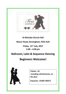 poster for tea dance july 2017