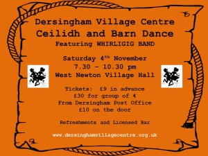 Poster for fundraising Ceilidh dance