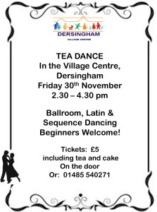 tea dance poster 30th november