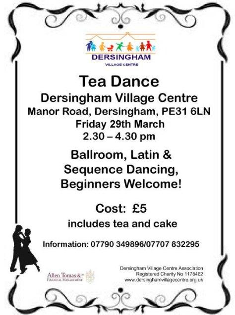 Tea Dance poster March 2019