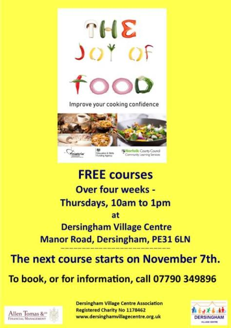 joy of food course poster november 2019