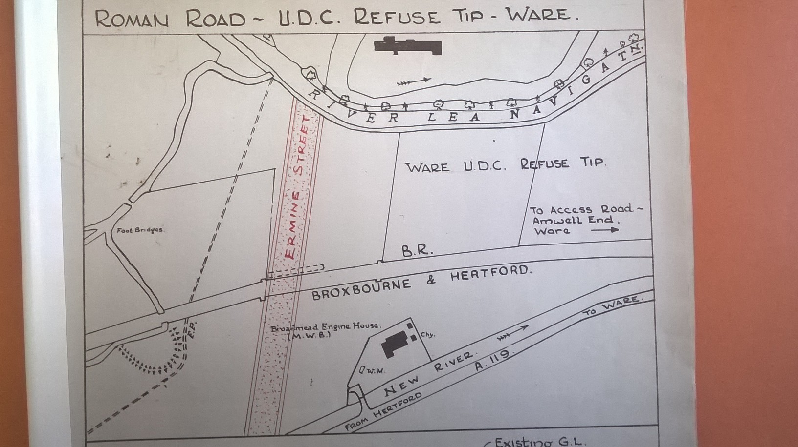 hight resolution of diagram of ermine street across the railway see red lines