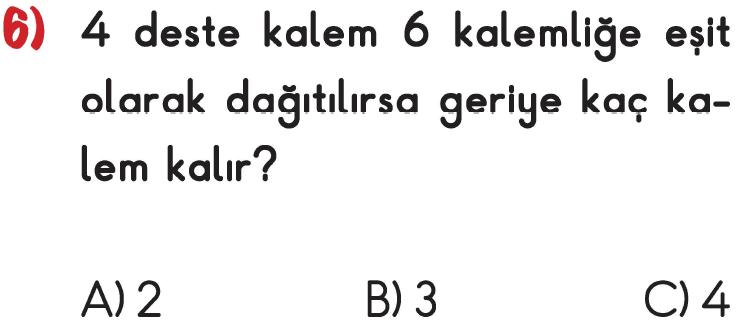 3. Sınıf Matematik Bölme İşlemi İle İlgili Problemler