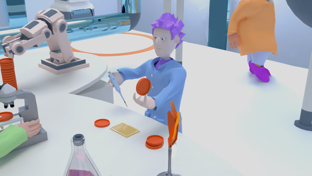 3D character in laboratory with pipette and plate, Dertypaws Creative
