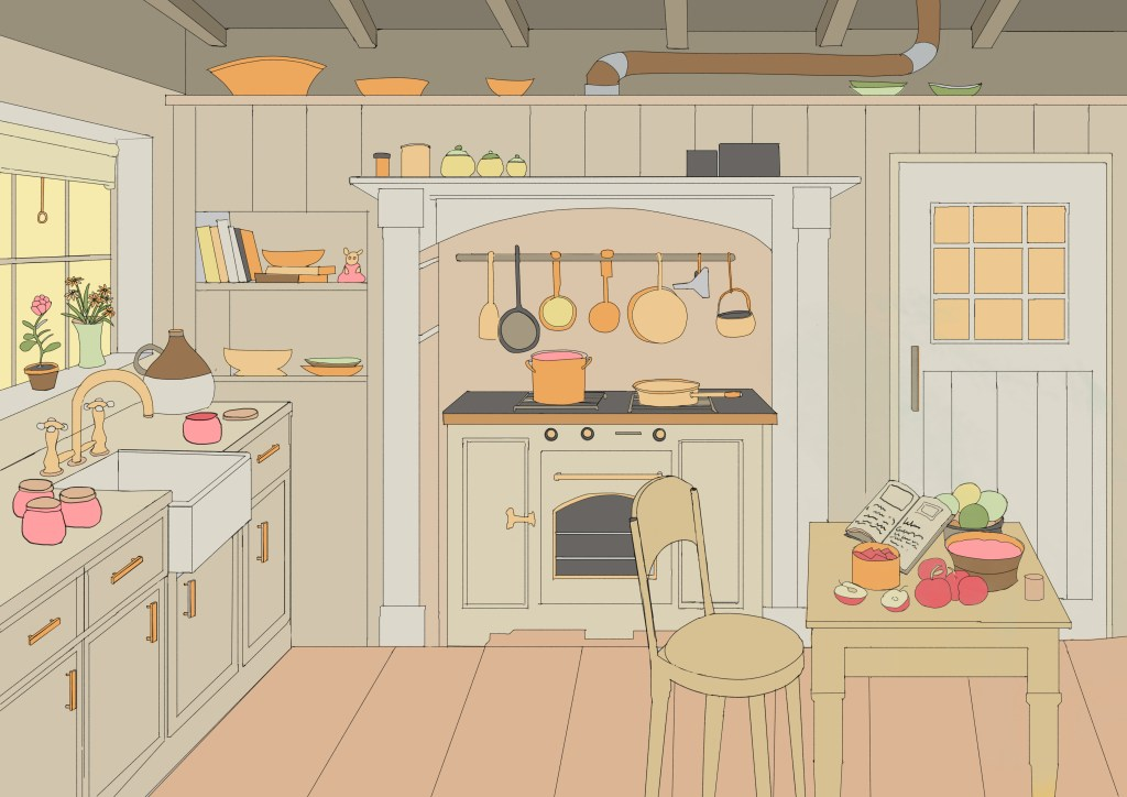 Environnment illustration of kitchen flat colours, Dertypaws Creative