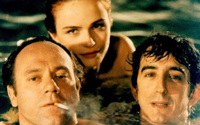Carlo Verdone, Sergio Rubini e Francesca Neri in una scena di Al lupo al lupo (1992)