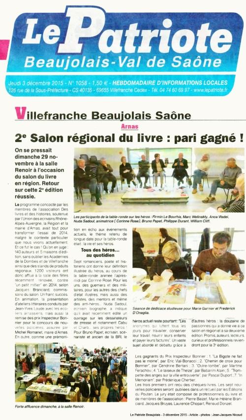 2e Salon du livre Arnas Paris gagné - Le Patriote Beaujolais 151203