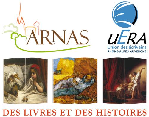 3 logos 2eme Salon du livre en région Arnas
