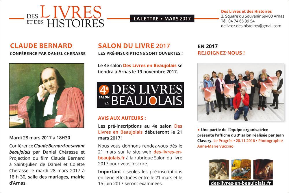 Newsletter Salon Des Livres en Beaujolais Mars 2017