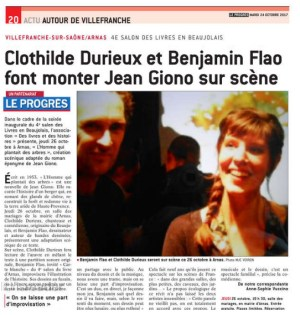Benjamin Flao et Clothilde Durieux sur scène ce 26 octobre à Arnas. le Progrès Photo MJC VOIRON