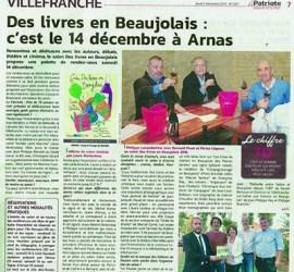 Des livres en Beaujolais, c'est le 14 décembre à Arnas! - Le Patriote
