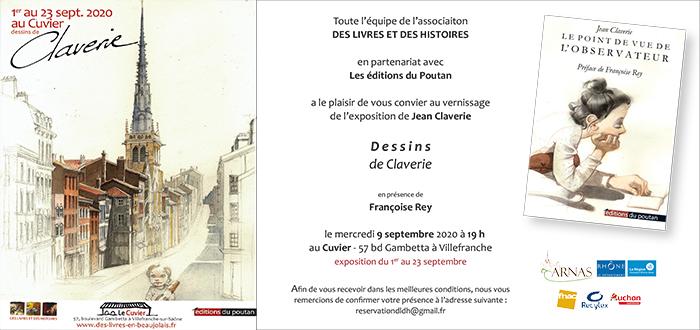 Invitation vernissage exposition de Jean Claverie au Cuvier - 9 sept 2020