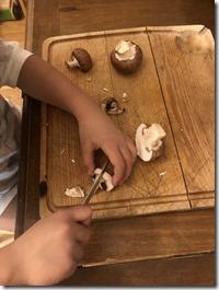 éviter de procrastiner et mettre en place l'activité de Vie Pratique Montessori : couper des champignons