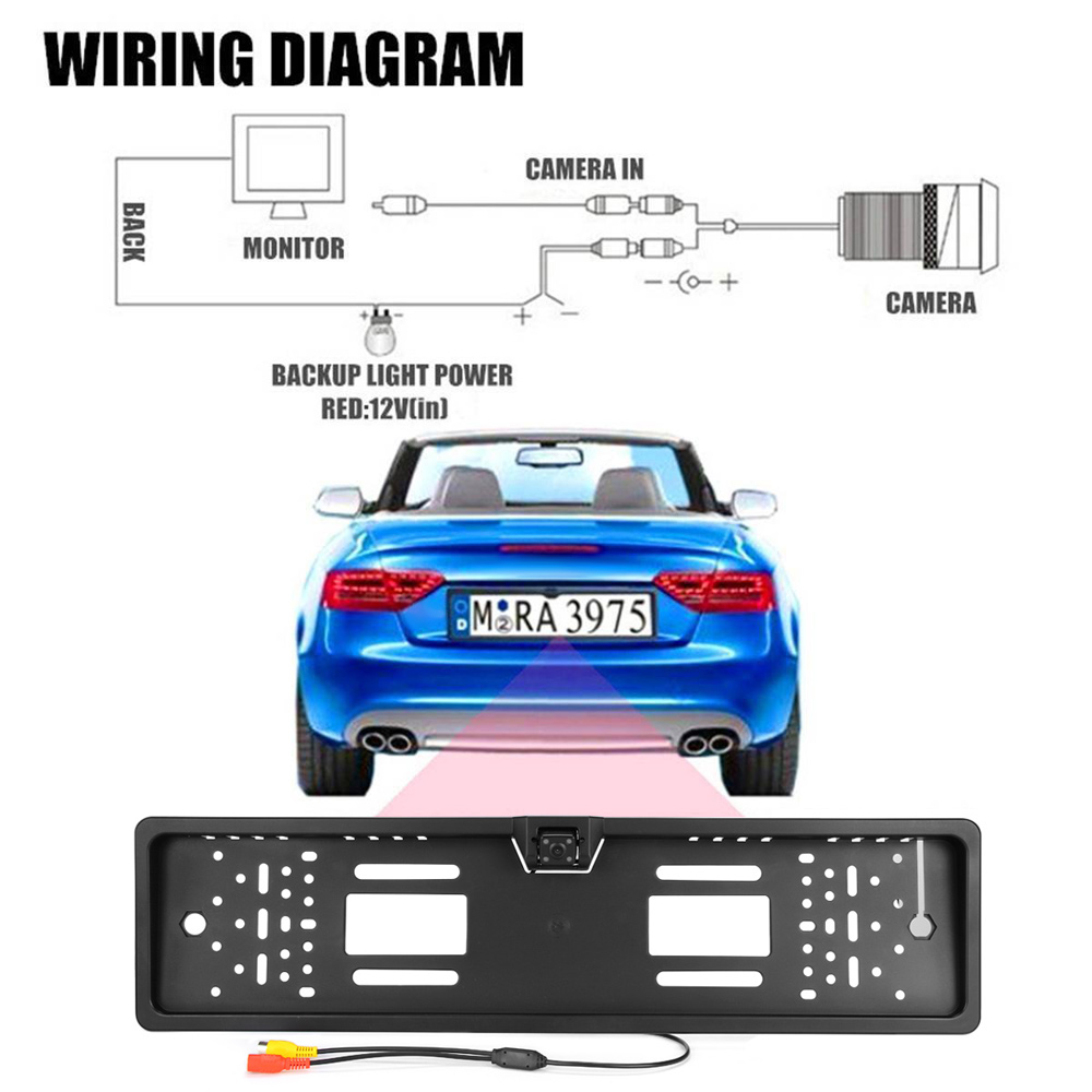 medium resolution of european car license plate frame size rear view rearview camera universal ccd ir night vision