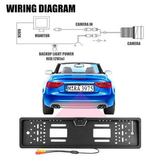 small resolution of european car license plate frame size rear view rearview camera universal ccd ir night vision
