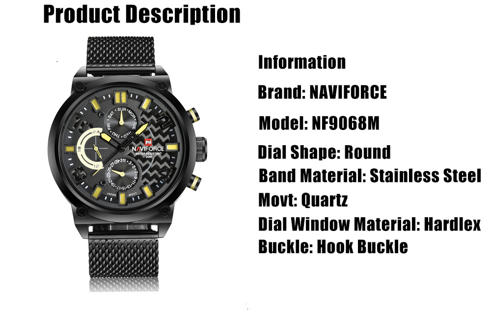 NaviForce NF9068M Male Quartz Watch price in Pakistan at