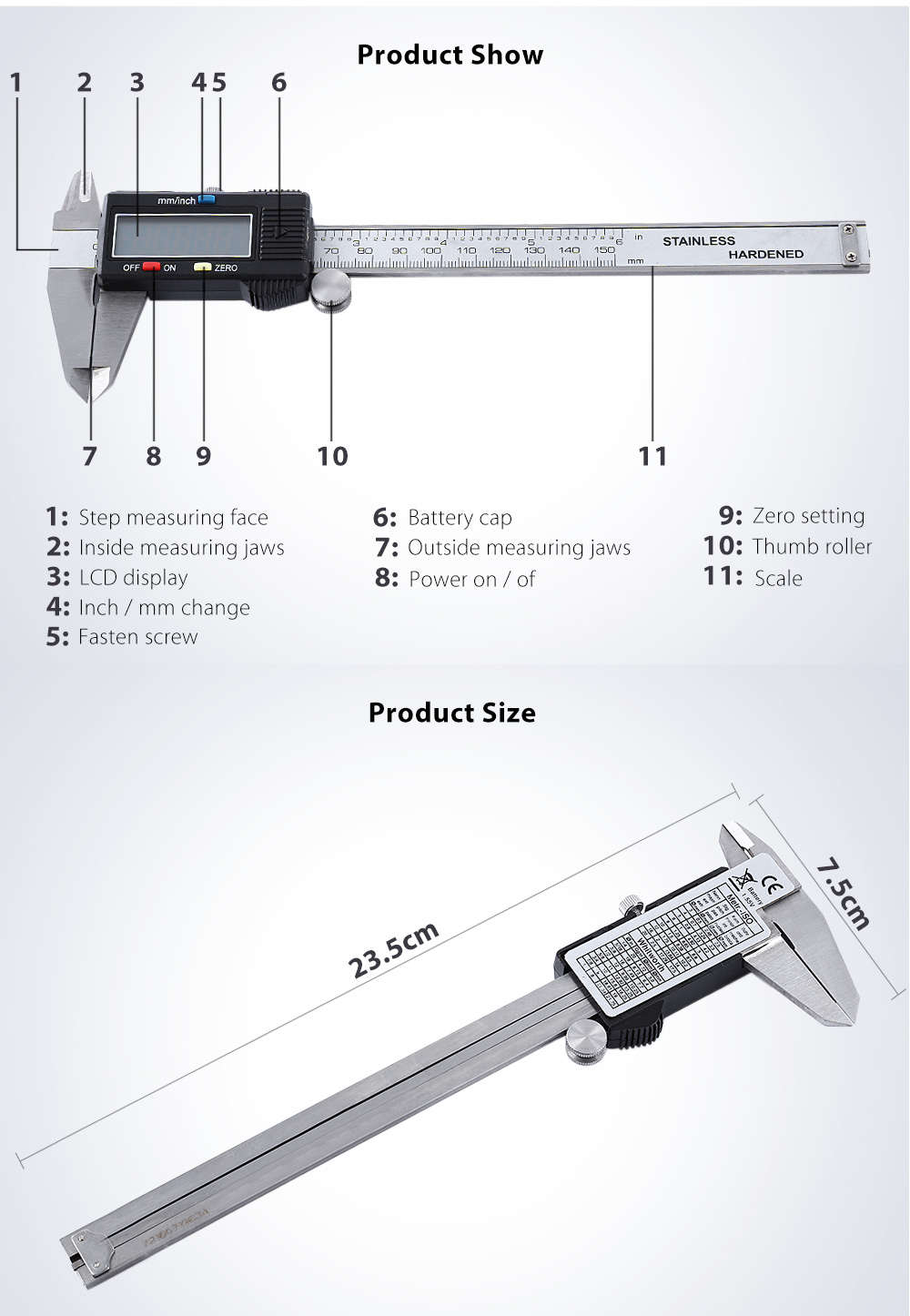hight resolution of digital electronic gauge vernier caliper micrometer tool silver