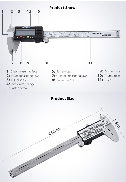 small resolution of digital electronic gauge vernier caliper micrometer tool silver