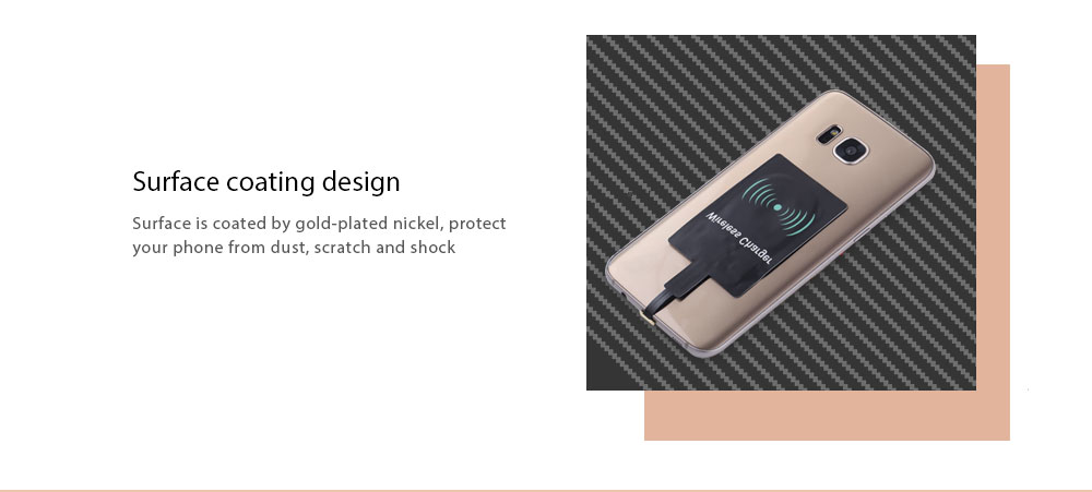 Android Devices Wireless Charging Adapter Module Wide Top and Narrow Bottom Type- Black