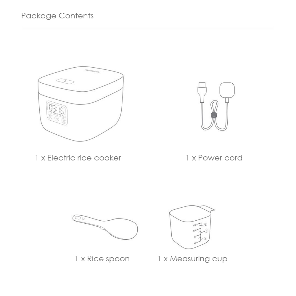 medium resolution of xiaomi 1 6l home rice cooker portable electric cooking equipment white chinese plug 3