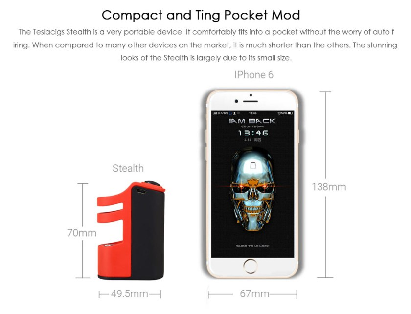 Tesla Teslacigs Stealth 100W Mod with 2200mAh Li-Po Battery / Submerged Atomizer Design E Cigarette Vape Mod