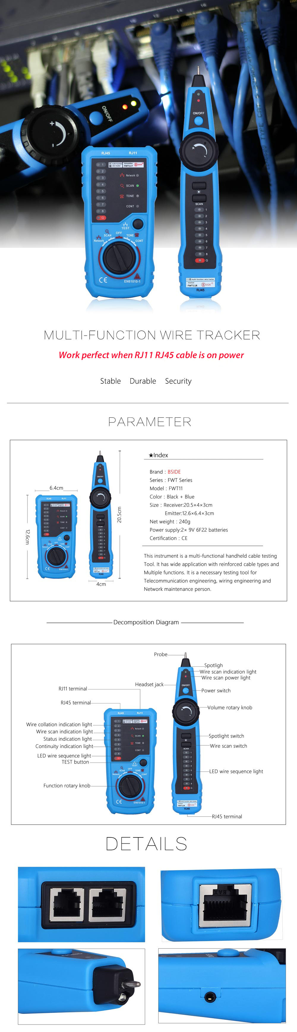 hight resolution of bside fwt11 handheld rj45 rj11 network telephone cable tester wire line tracker blue and black