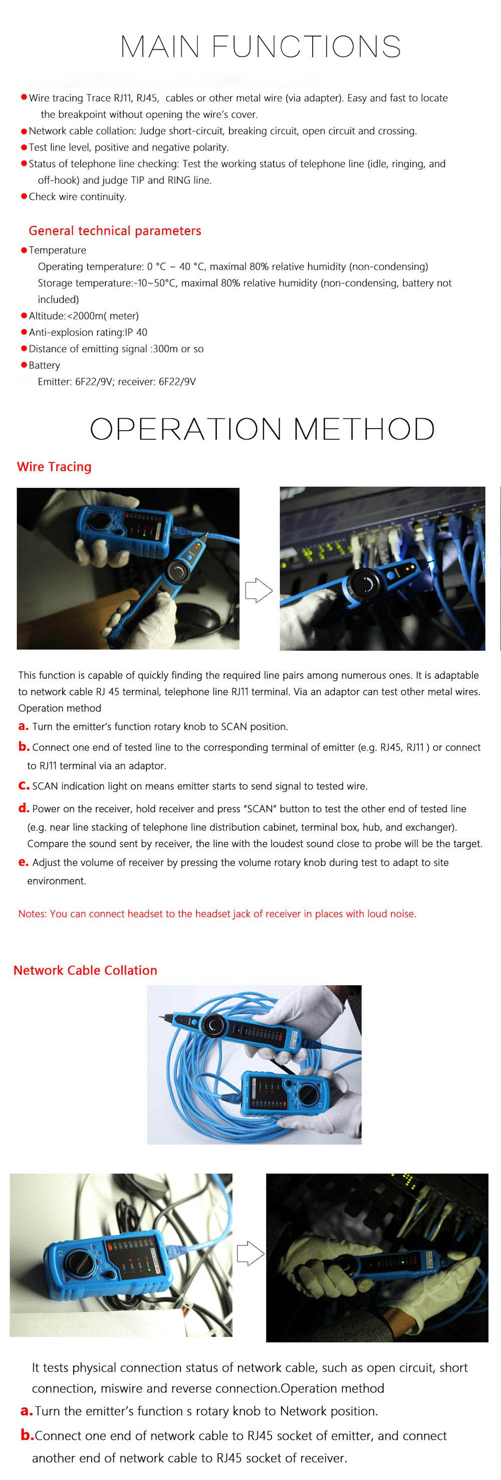 medium resolution of bside fwt11 handheld rj45 rj11 network telephone cable tester wire line tracker blue and black