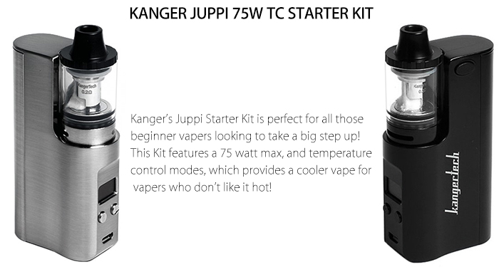 Original KANGER JUPPI 75W TC STARTER KIT with 3ml / 0.2 ohm / Top Filling Design / Dual Bottom Air Flow Clearomizer- Silver