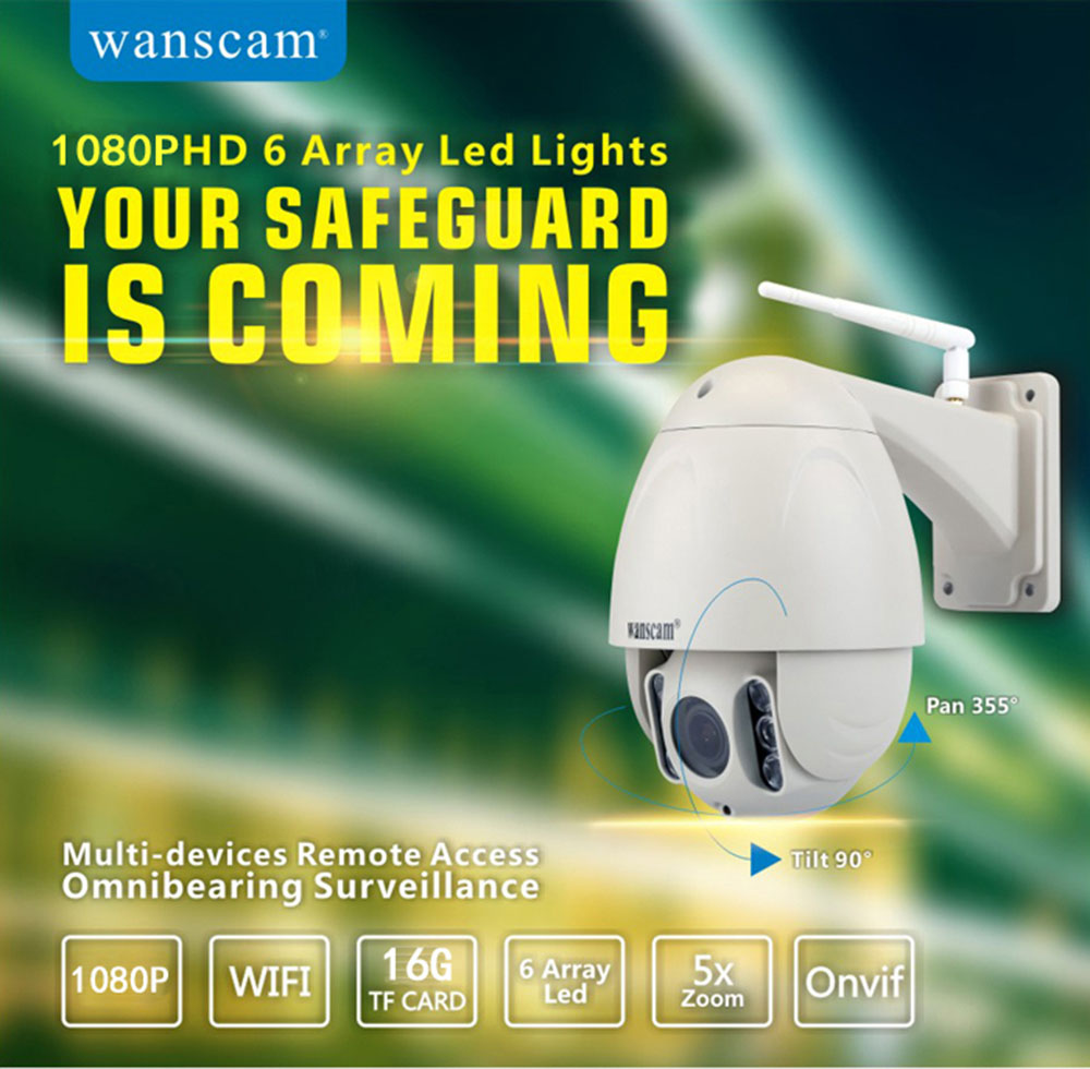 WANSCAM HW0045 WiFi IP Camera 2MP 1080P 80m Night Vision TF Card for Outdoor Use