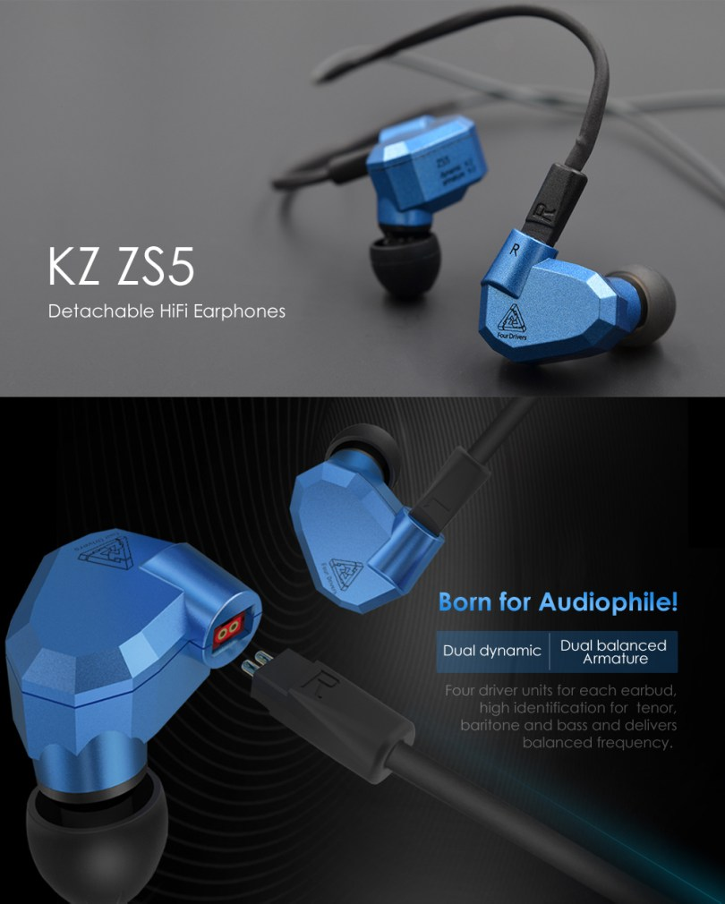 KZ ZS5 HiFi In-ear Removable Music Earphones