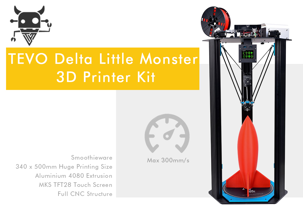 TEVO Little Monster Delta Aluminium Extrusion 3D Printer Kit
