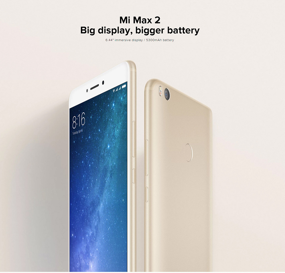 Xiaomi Mi Max 2 4G Phablet 6.44 inch Android 7.0 Snapdragon 625 Octa Core 2.0GHz 4GB RAM 64GB ROM 12.0MP Rear Camera Fingerprint Scanner WiFi Direct