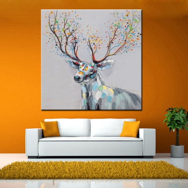 Abstract Deer Canvas Oil Painting Modern Art - 58.57 Online Shopping