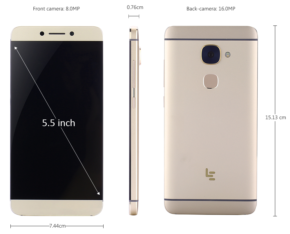 LeEco Le S3 X626 4G Phablet 5.5 inch FHD Screen Android 6.0 Helio X20 Deca Core 2.3GHz 4GB RAM 64GB ROM 16.0MP + 8.0MP Cameras Fingerprint Scanner