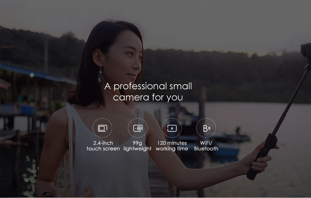 Xiaomi Mijia Camera Mini 4K 30fps Action Camera 145 Degree Wide Angle Six-axis EIS with 2.4 inch Touch Screen 7 Glass Lens- Black