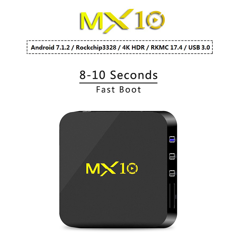 MX10 TV Box RK3328 Android 7.1.2 4GB DDR3 + 32GB eMMC 10 / 100M LAN VP9 HDMI USB 3.0