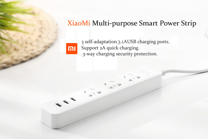 Original Xiaomi Smart Adaptation 3 USB 2.1A Power Strip with 3 Standard Sockets ( 250V )- White