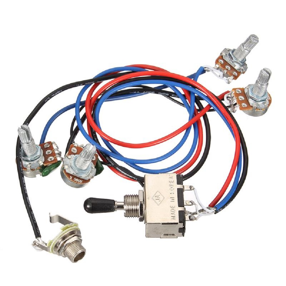 medium resolution of wiring harness 2v 2t 3 way toggle switch 500k pots for guitar dual two humbucker guitar wiring harness black 3 way toggle switch 500k