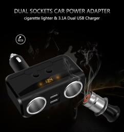 modern style car charger car cigarette lighter dual usb car charger intelligent fast charging head [ 1000 x 1065 Pixel ]