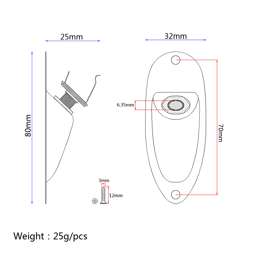 hight resolution of boat input output jack plate socket with screws for fender strat guitar silver
