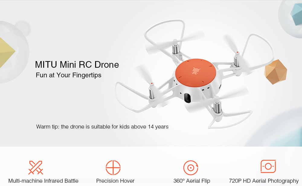Xiaomi MITU WiFi FPV 720P Caméra HD Multi-Machine infrarouge Mini RC bataille Drone - BNF- blanc