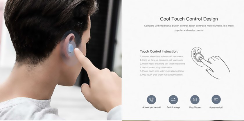 QCY T1 Pro TWS Bluetooth Earphones Touch Control Wireless Stereo Earbuds with Mic and Charging Case- Black