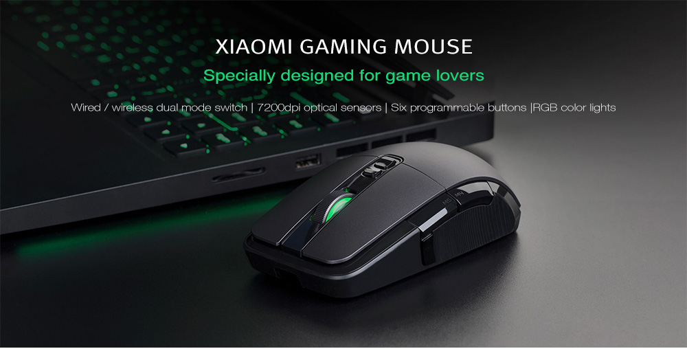 Xiaomi Wired / Wireless Optical Gaming Mouse 7200DPI Programmable RGB - Dark Gray
