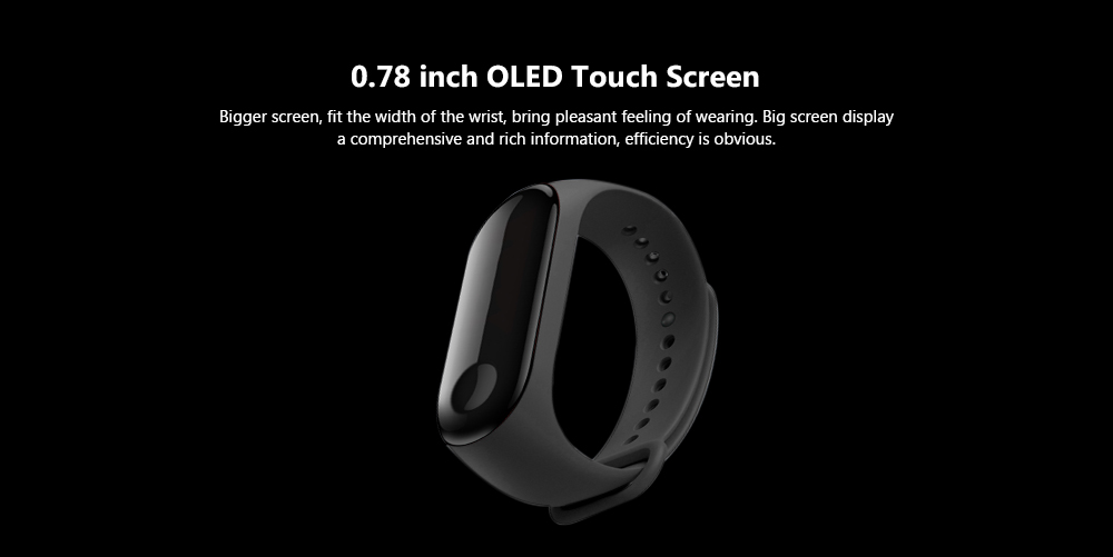 Xiaomi Mi Band 3 Smart Bracelet Heart Rate Monitor Bluetooth 4.2 Wristband- Black