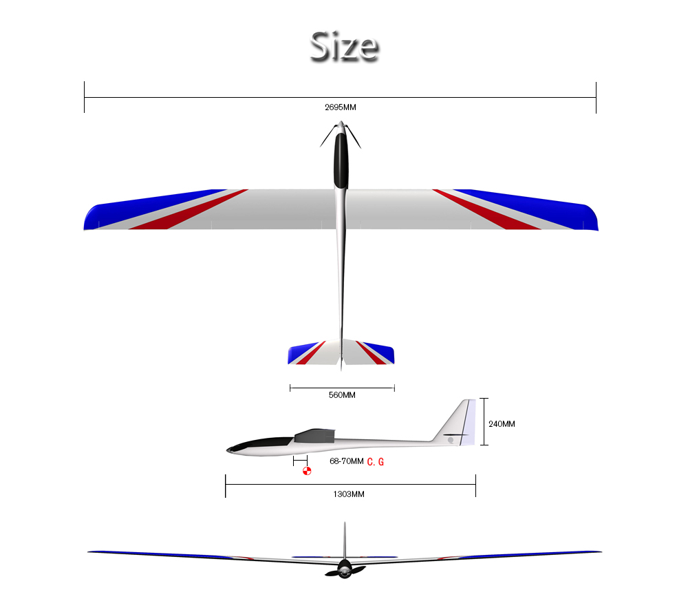 hight resolution of 2695mm large wingspan rc airplane glider kit version white