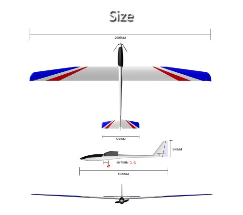 small resolution of 2695mm large wingspan rc airplane glider kit version white