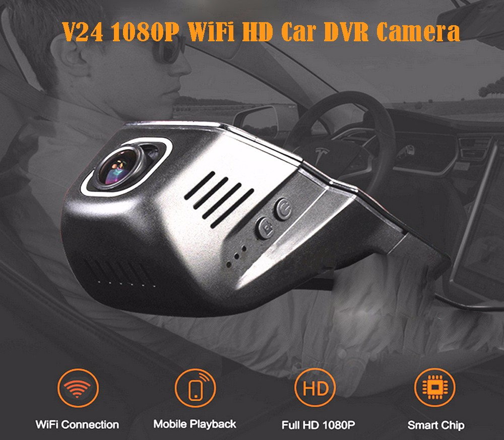 hight resolution of v24 1080p wifi hd car dvr camera with 170 degrees wide angle black
